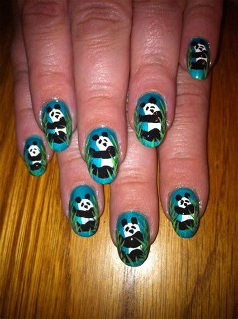 simple panda nail art designs ideas