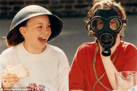 wartime helmets  gas masks banned  classroom