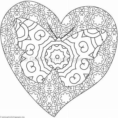 Coloring Pages Butterfly Heart Getcoloringpages Colouring Adult