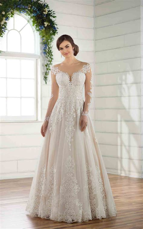 plus size wedding dress with lace sleeves essense of