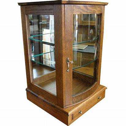 Display Table Case Oak Glass Door Curved