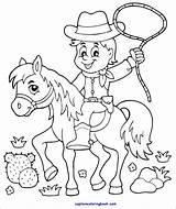 Coloring Cowboy Horse Pdf Colors Children sketch template