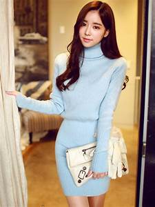 Korean Ulzzang Style Turtleneck Long-Sleeved Cashmere Bodycon Knit Sweater Dress - WSDear.com