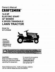 Craftsman 917270530 User Manual 14 5hp 42 Mower Lawn