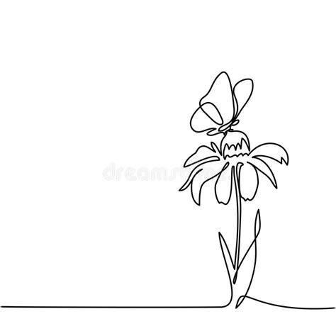 Desenho Da Flor Bonita Com Borboleta Ilustração do Vetor