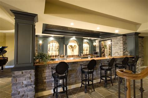 Yellow Interior Design Of Home Basement Bar Ideas With