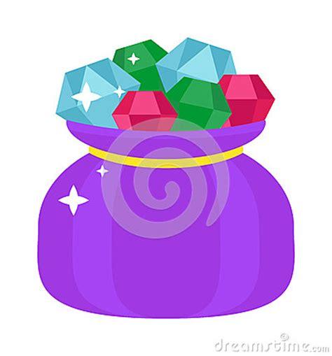 bag  gems cartoon illustration jewels sack luxury diamond shiny gift flat vector stock