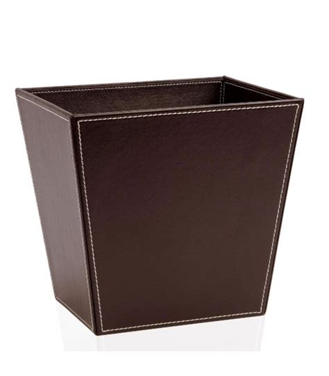 corbeille à papier de bureau en bois marron foncé umbra