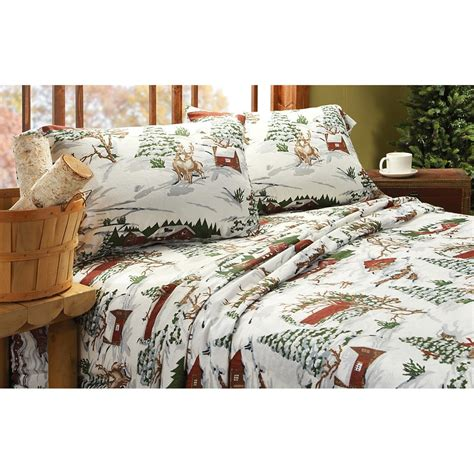 winter sheets sale winter lodge flannel sheet set 209126 sheets at