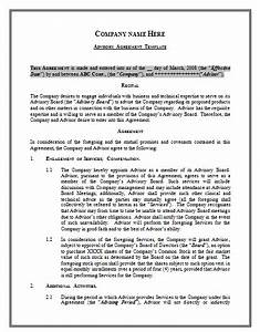 advisory agreement template by agreementstemplatesorg With advisory board agreement template