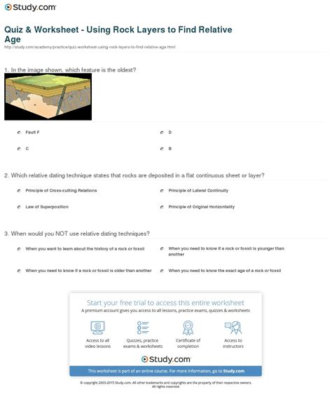 Quiz & Worksheet  Using Rock Layers To Find Relative Age Studycom