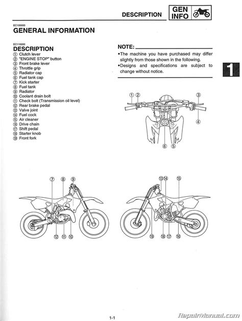 2001 yamaha yz125 motorcycle owners service manual
