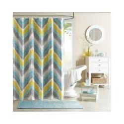 chevron shower curtain teal blue grey bathroom accessory
