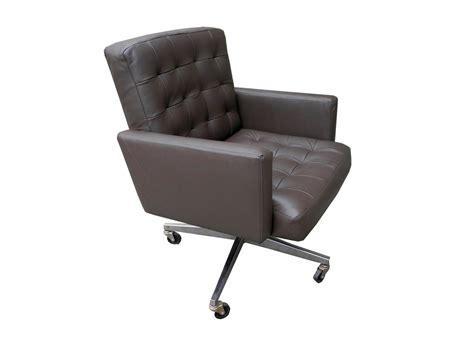 taupe leather executive desk office armchair on wheels by