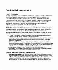 Church confidentiality agreement templates download free for Confidentiality policy template