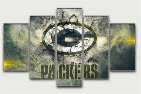 sale 5 panel large hd print painting on canvas green bay packers home decoration