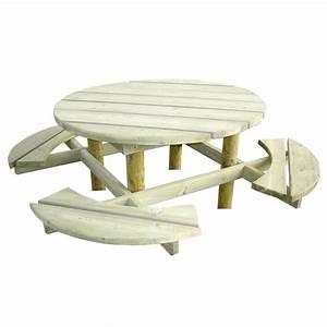 Table Bois Pique Nique : table de pique nique ronde en bois 8 places doublet ~ Melissatoandfro.com Idées de Décoration