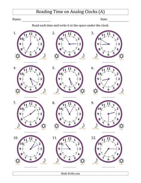 reading time   hour analog clocks   minute