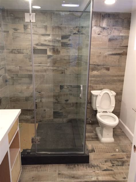 reclaimed wood look bathroom shower