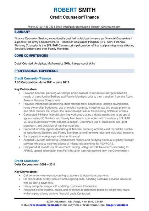 credit counselor resume samples qwikresume