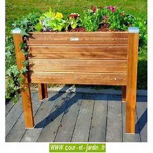 Fabriquer Un Potager Surélevé En Bois : bac fleurs bois sur pieds bacs plantes potager jardini re ~ Melissatoandfro.com Idées de Décoration