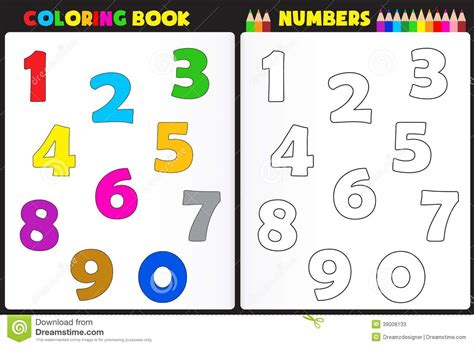 Coloring Book Numbers Stock Vector. Illustration Of