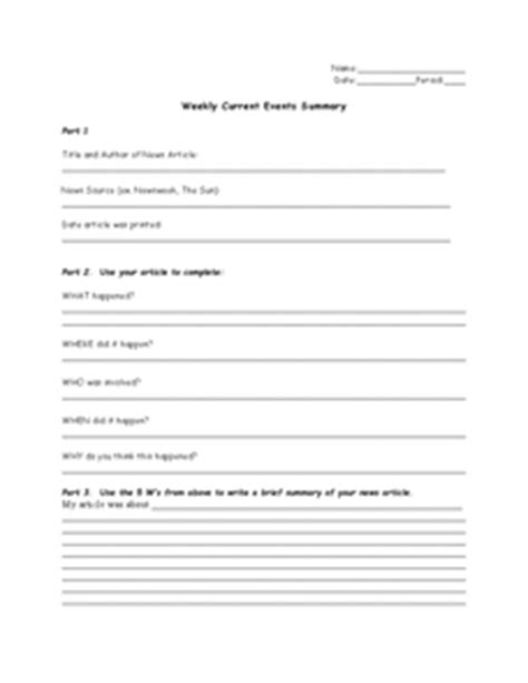 Weekly Current Events Summary 7th  12th Grade Worksheet  Lesson Planet