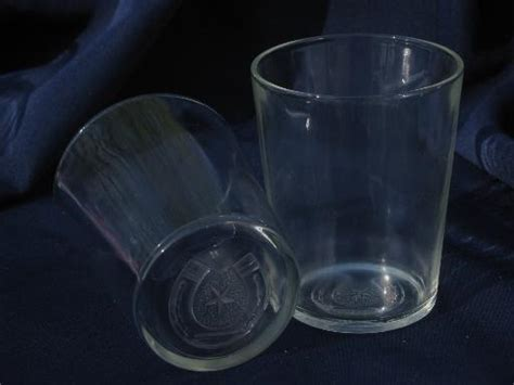 western star and horseshoe embossed glass bar glasses