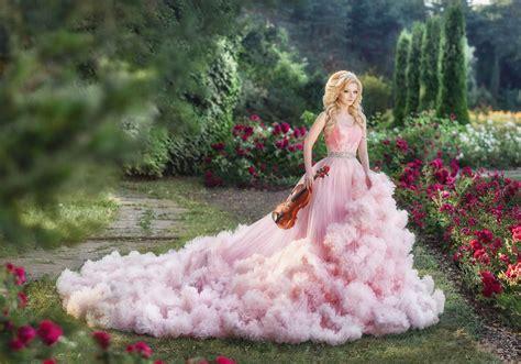 sweet  romantic pink bridal gown  art dress
