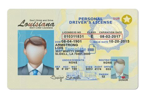 louisiana driver license psd template novelty document store
