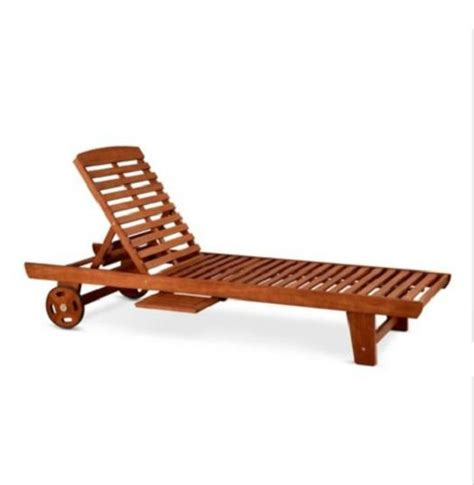 single eucalyptus chaise lounge chair outdoor deck patio