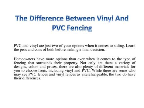 Vinyl Pvc Unterschied by The Difference Between Vinyl And Pvc Fencing