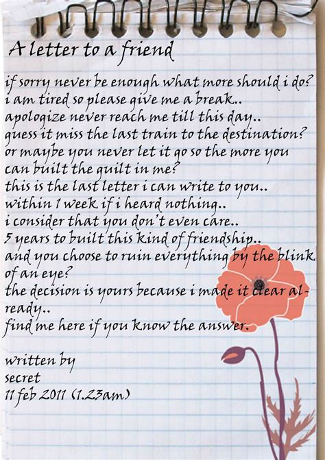lovely long  friend letters    cry