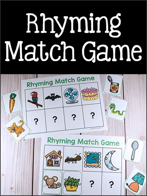 rhyming match prekinders 980 | rhyming match game printable