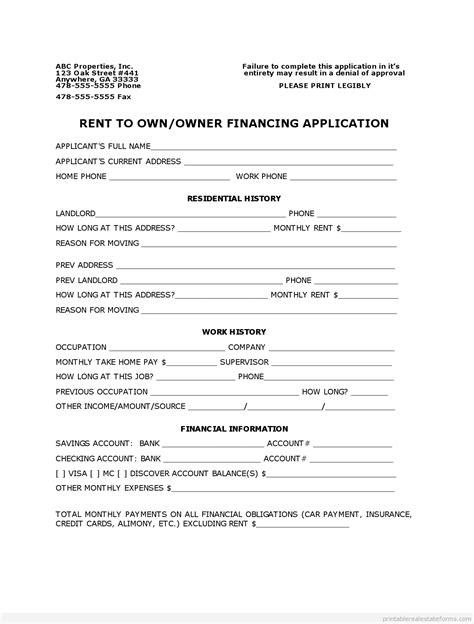 owner financing agreement printable  blank form