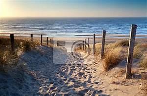 Tableaux Mer Et Plage : tableau chemin de plage de la mer du nord dans le soleil d 39 or posters et tableaux sur toile ~ Teatrodelosmanantiales.com Idées de Décoration