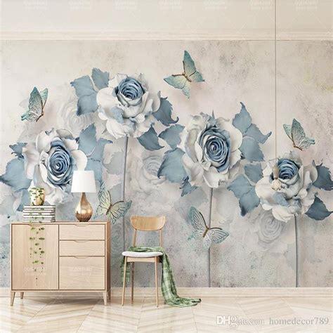 custom  photo wallpaper mural light blue elegant