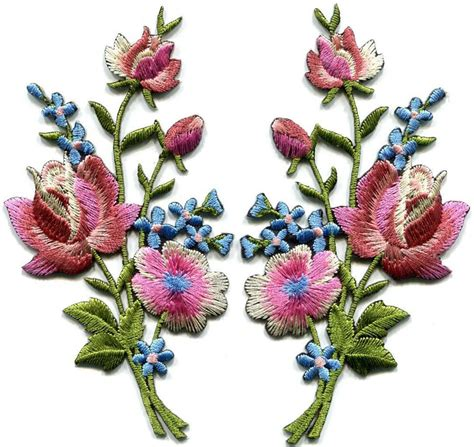 Applique Iron by Mauve Pink Roses Pair Flowers Embroidered Appliques Iron