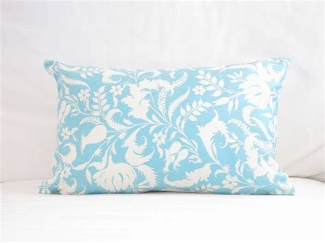 light blue lumbar pillow light blue white floral pillow cover blue chair pillows