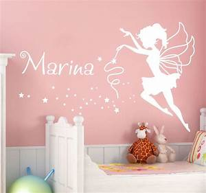 Personalised Name Fairy Wall Sticker - TenStickers