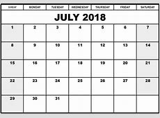 Juli 2018 Kalender Norge Helligdager Utskriftsvennlig Mal