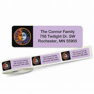 sun and moon rolled return address labels colorful images With buy address stickers