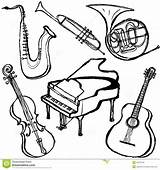 Instruments Coloring Musical Instrument Pages Jazz Band Brush Printable Template Getcolorings Concert Sketch sketch template