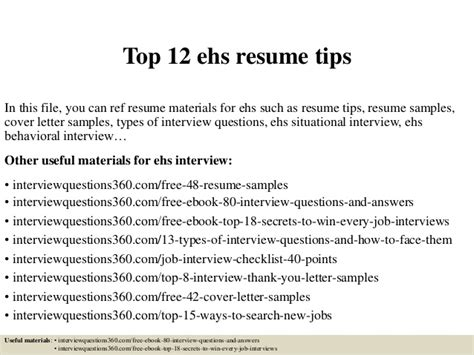 What Not To Do In A Resume Tips by Top 12 Ehs Resume Tips