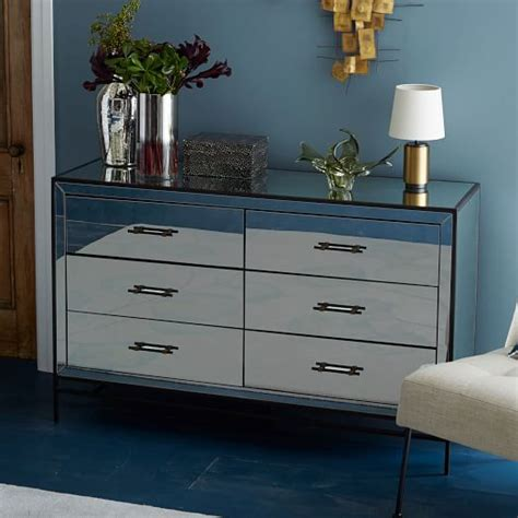 6 drawer dresser with mirror mirrored 6 drawer dresser west elm