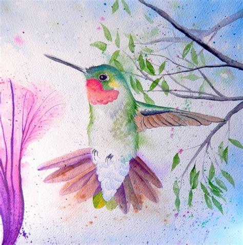 original watercolor art ruby throat hummingbird bird