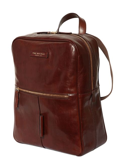 lyst the bridge brushed leather backpack in brown for