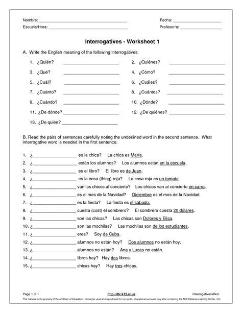 13 best images of question words worksheets grade