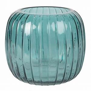 Vase Bleu Canard : vase boule en verre stri bleu canard h17 maisons du monde ~ Melissatoandfro.com Idées de Décoration