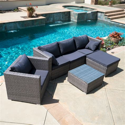 outdoor sofa with chaise 6pc outdoor patio furniture sectional rattan wicker sofa